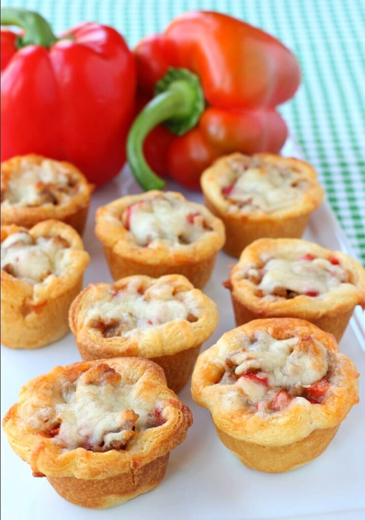Sausage and Pepper Crescent Cups are an easy appetizer recipe