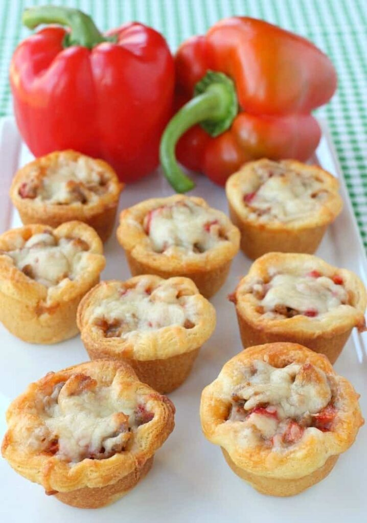 Sausage and Pepper Crescent Cups are easy appetizers or a fun dinner recipe