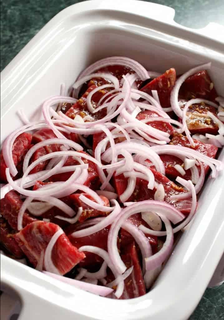 Slow Cooker Shaking Beef is a slow cooker recipe made with beef and onions