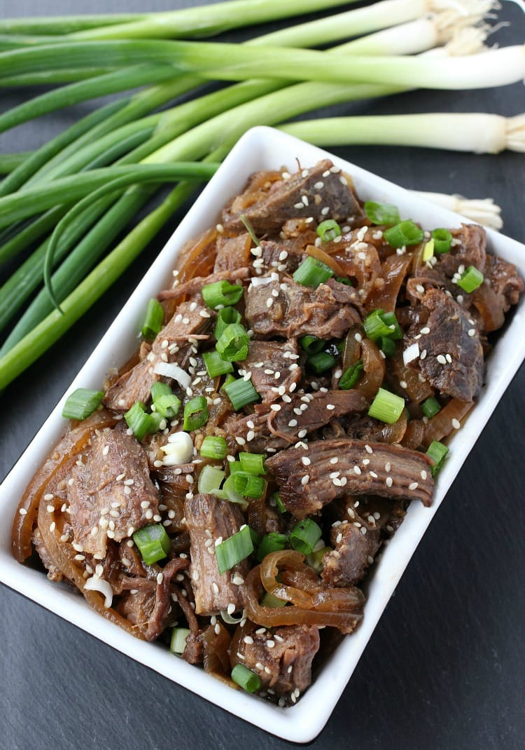 slow cooker shaking beef with scallions