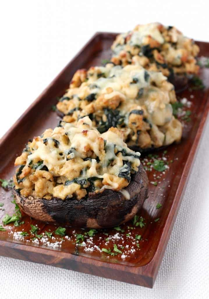 portobello mushrooms filled with chicken, spinach and cheese