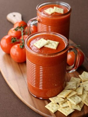 Copycat Campbell's Tomato Soup recipe in a glass soup mug