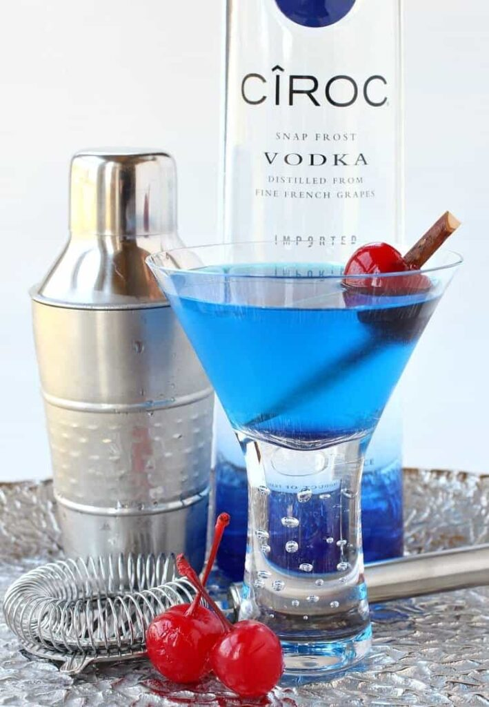 This Blue Heaven Martini recipe is a shaken martini made with blue curaçao and vodka