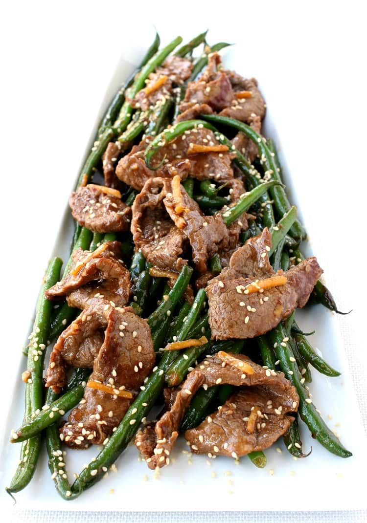 Ginger Beef and Green Bean Stir Fry is a healthy stir fry recipe with steak and green beans