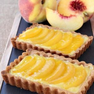 Peach Custard Tart Recipe | Easy Custard Tart With Fruit