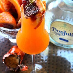 Blood Orange Mimosa is made with tequila