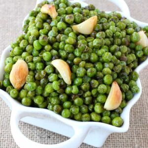 Brown Butter and Garlic Roasted Peas