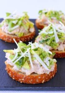 Caesar Chicken Salad Bruschetta is a chicken salad recipe prepared with homemade caesar dressing