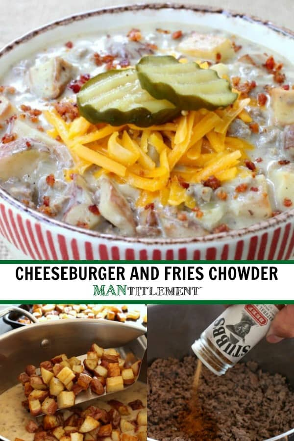 Cheeseburger and Fries Chowder is a creamy soup recipe with ground beef and potatoes