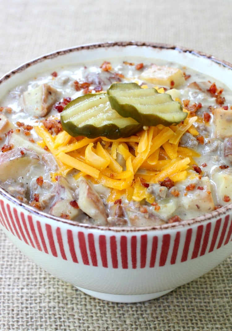 Cheeseburger & Fries Chowder in a striped bowl