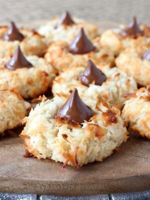 coconut rum cookies with chocolate kiss in the middle