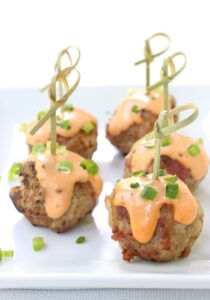 Bacon and Pork Meatballs with Chili Remoulade