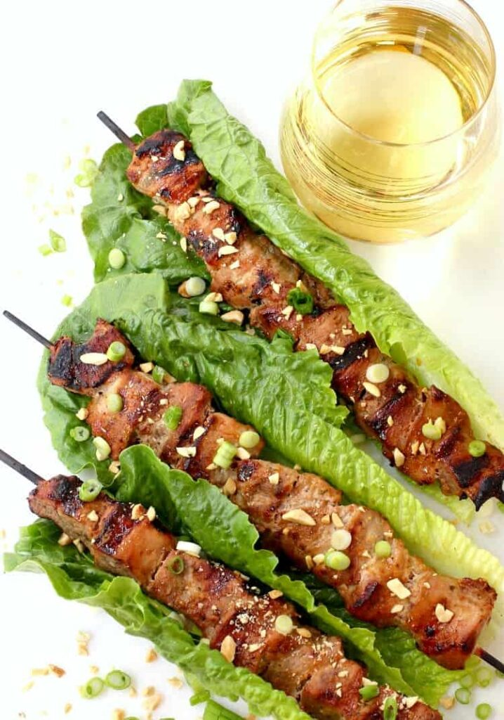 Thai Coconut Pork Kabobs with wine