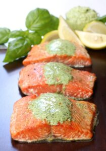 Cedar Plank Salmon with Basil Cream Sauce