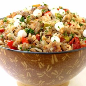 Italian Fried Rice recipe in a brown bowl
