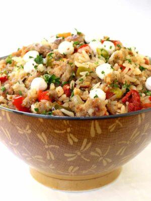 Italian Fried Rice recipe in a brown bowl