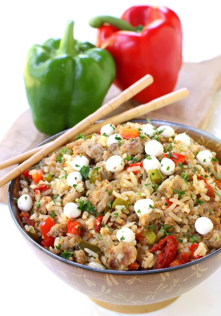 Italian Fried Rice is a fried rice recipe with fresh mozzarella cheese and sausage