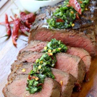 Grilled Steak with Spicy Kale Chimichurri Sauce