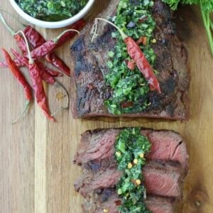 Grilled Steak with Spicy Kale Chimichurri Sauce | Easy Chimichurri Recipe