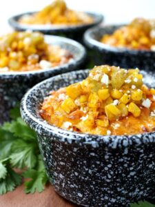 Mexican Street Corn Pudding in individual cups