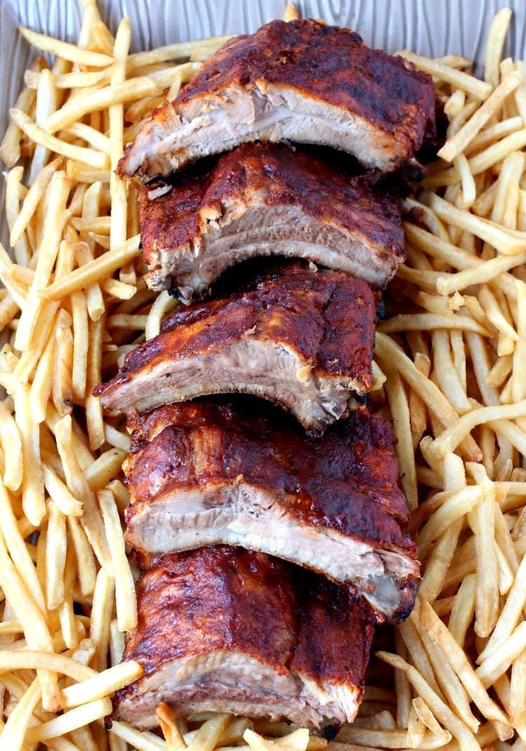 Overnight Slow Cooker Ribs with french fries