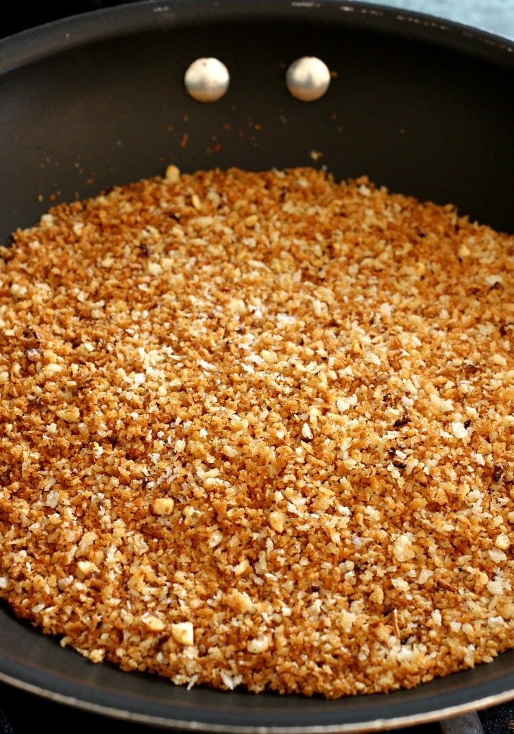 Toasted breadcrumbs in a skillet