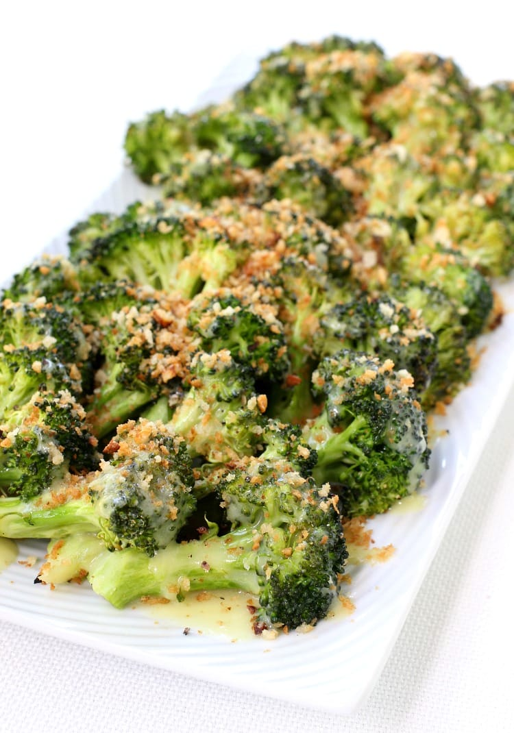 Roasted Broccoli with Breadcrumbs and Hollandaise Sauce