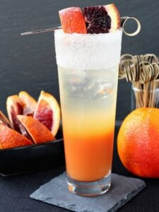 This Blood Orange Gin Cooler has fresh blood orange juice and a splash of seltzer!
