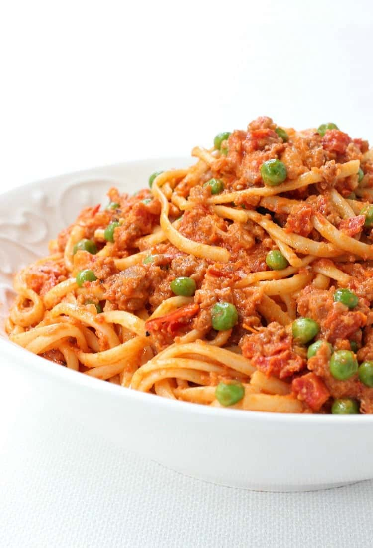 Creamy Sausage Spaghetti is loaded with sausage in a creamy tomato sauce!