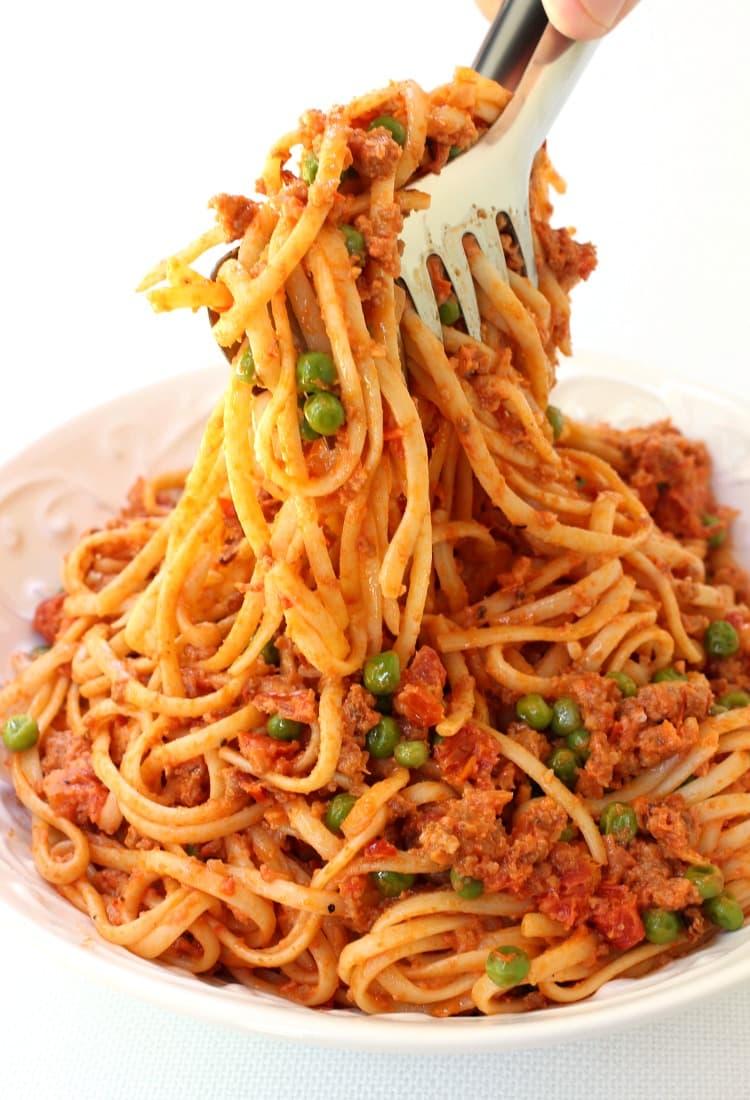 Creamy Sausage Spaghetti has tons of sausage in every single bite!