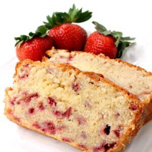 Strawberry Rum Pound Cake recipe sliced