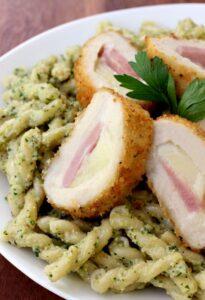Zucchini Pesto Pasta with Barber Foods Stuffed Chicken