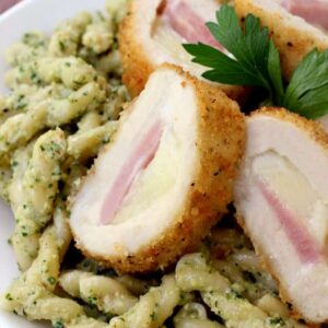 Zucchini Pesto Pasta with Barber Foods Stuffed Chicken