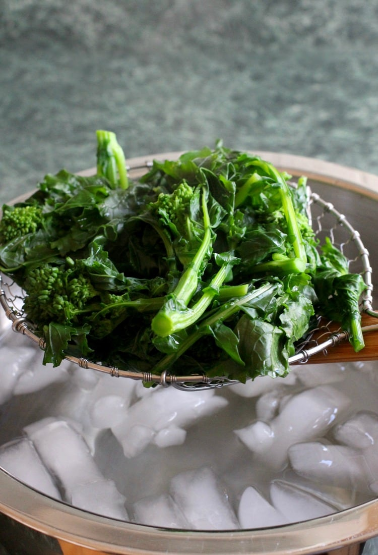Broccoli Rabe cooked going into ice bath