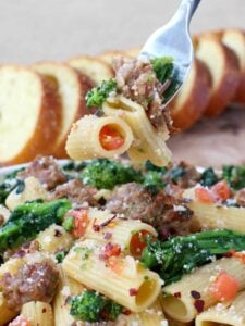 Rigatoni with Sausage and Broccoli Rabe is loaded with Italian sausage, broccoli rabe and tons of parmesan cheese!