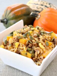 Fall Fried Rice is the perfect weeknight dinner, the squash cooks up in minutes in the microwave!