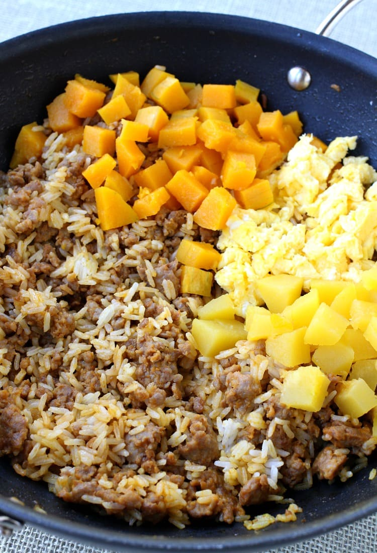 Fall Fried Rice is a fried rice recipe that uses two different types of squash