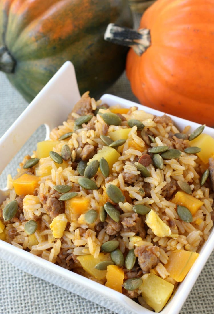 Fall Fried Rice is a fried rice recipe that has squash, sausage and pumpkin seeds