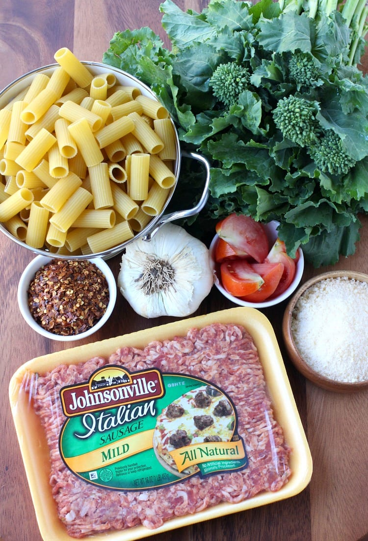 Rigatoni with Sausage and Broccoli Rabe ingredients