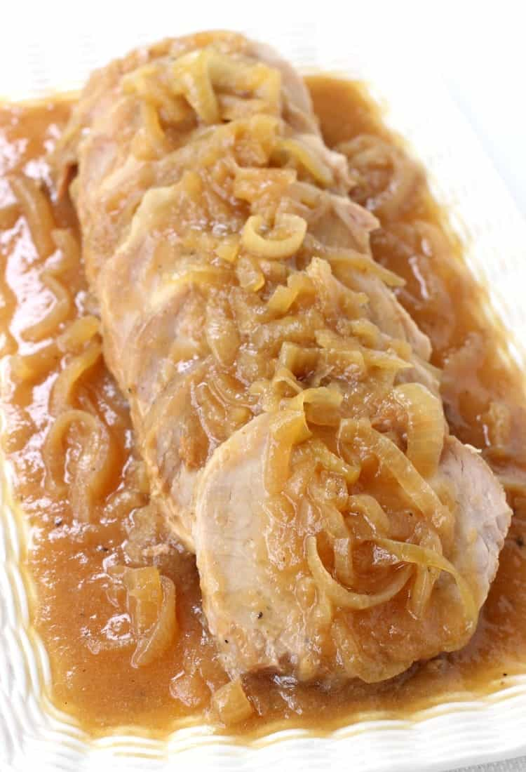 This Crock Pot Applesauce Pork Roast is a pork roast recipe that is made in a slow cooker or crock pot