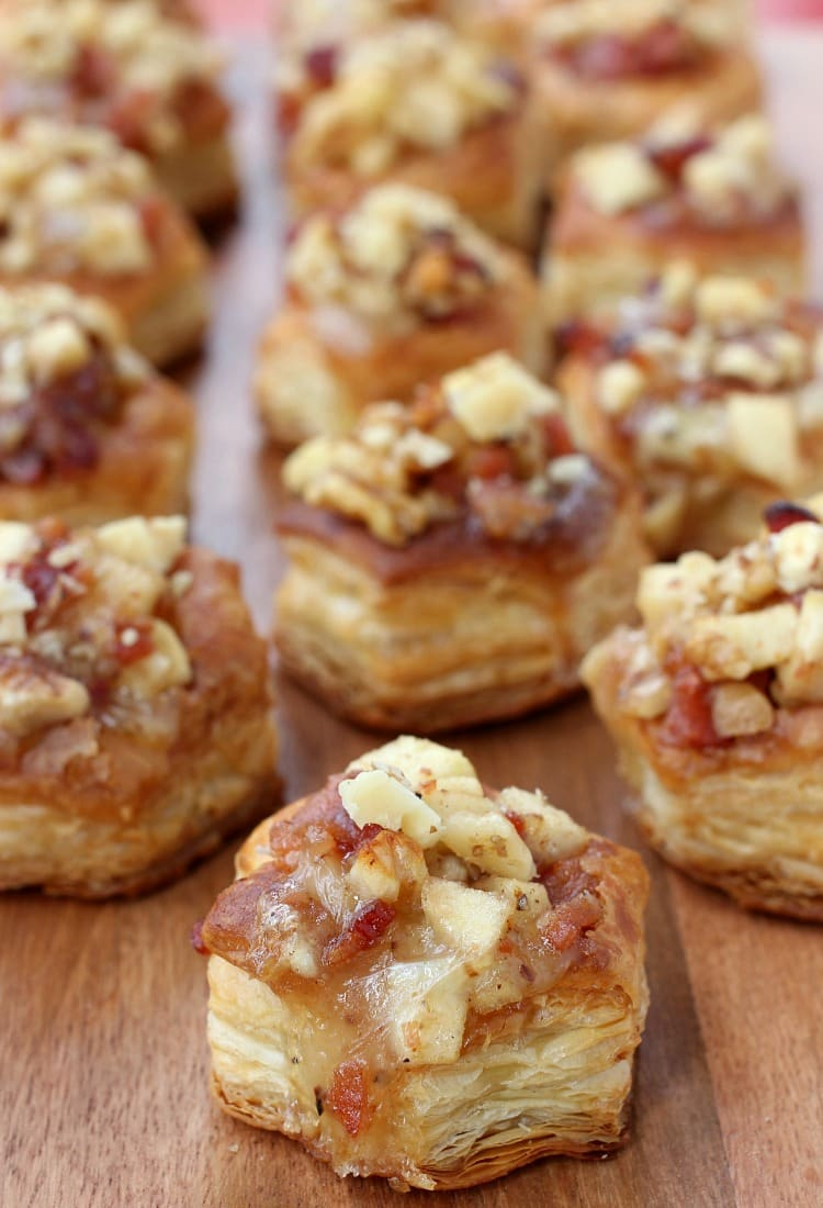 Apple Bacon and Brie Phyllo Cups are sweetened up with a drizzle of honey!