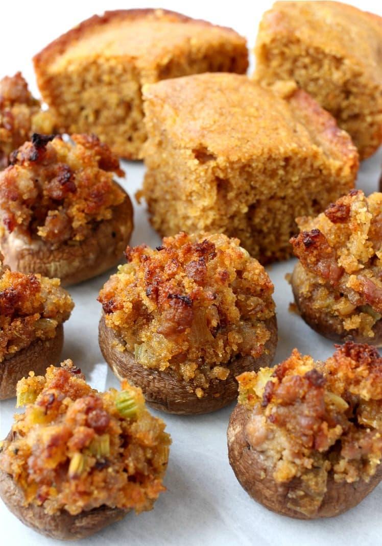 pumpkin-cornbread-stuffed-mushrooms-featured