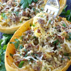 Sausage Spaghetti Squash with Apple Cider Glaze