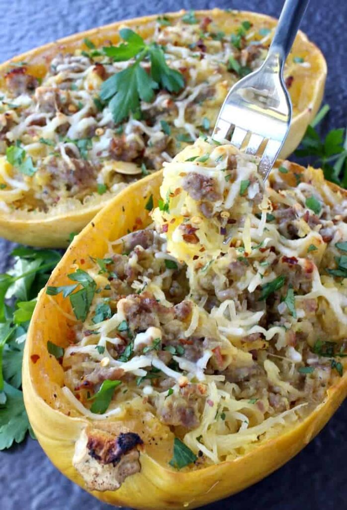 Sausage SPaghetti Squash with Apple Cider Glaze is loaded with sausage and cheese!