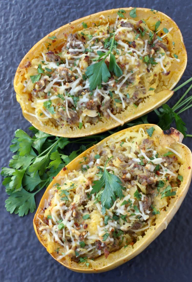 Sausage Spaghetti Squash with Apple Cider Glaze is how we do ...