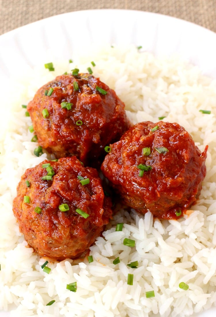 Slow Cooker Cabbage Roll Meatballs are like a cabbage roll in one bite!