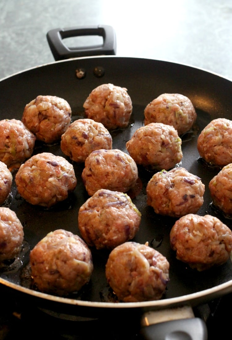 Pan-fry these Slow Cooker Cabbage Roll Meatballs quick before getting them in your slow cooker!
