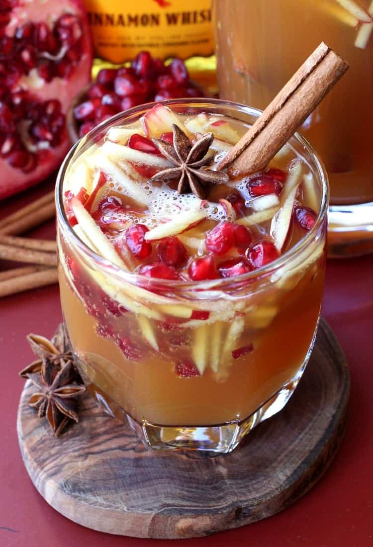 Sparkling Fireball Apple Sangria has all you favorite cold weather flavors right in a glass!