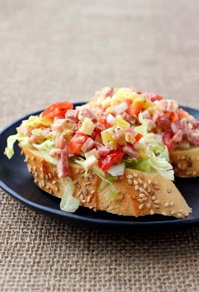 Italian Sub Bruschetta is perfect for tailgating or apps at home!