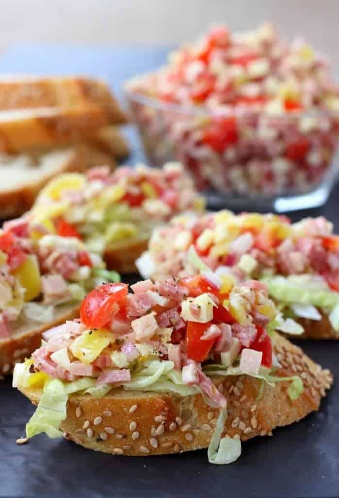 Italian Sub Bruschetta | Easy Italian Meat & Tomato Bruschetta Recipe
